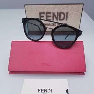 NWT Fendi FF0225/S 807QT Black / Green Sunglasses